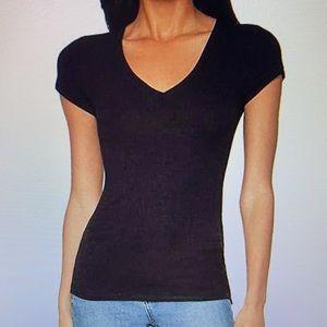 NWT BCBG MaxAzria Liana v-neck black tee shirt XS